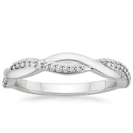 18K White Gold Twisted Vine Diamond Ring, top view
