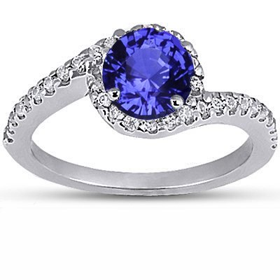 Sapphire Cressida Diamond Ring in Platinum with 6mm Round Blue Sapphire