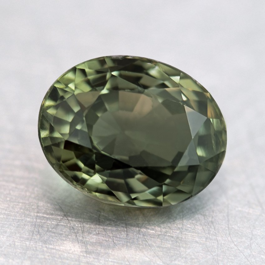 7x5.5mm Green Oval Sapphire, top view