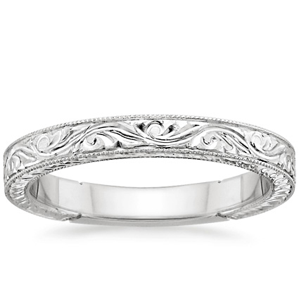 ... Rings Women's Wedding Rings 18K White Gold Hand-Engraved Laurel Ring