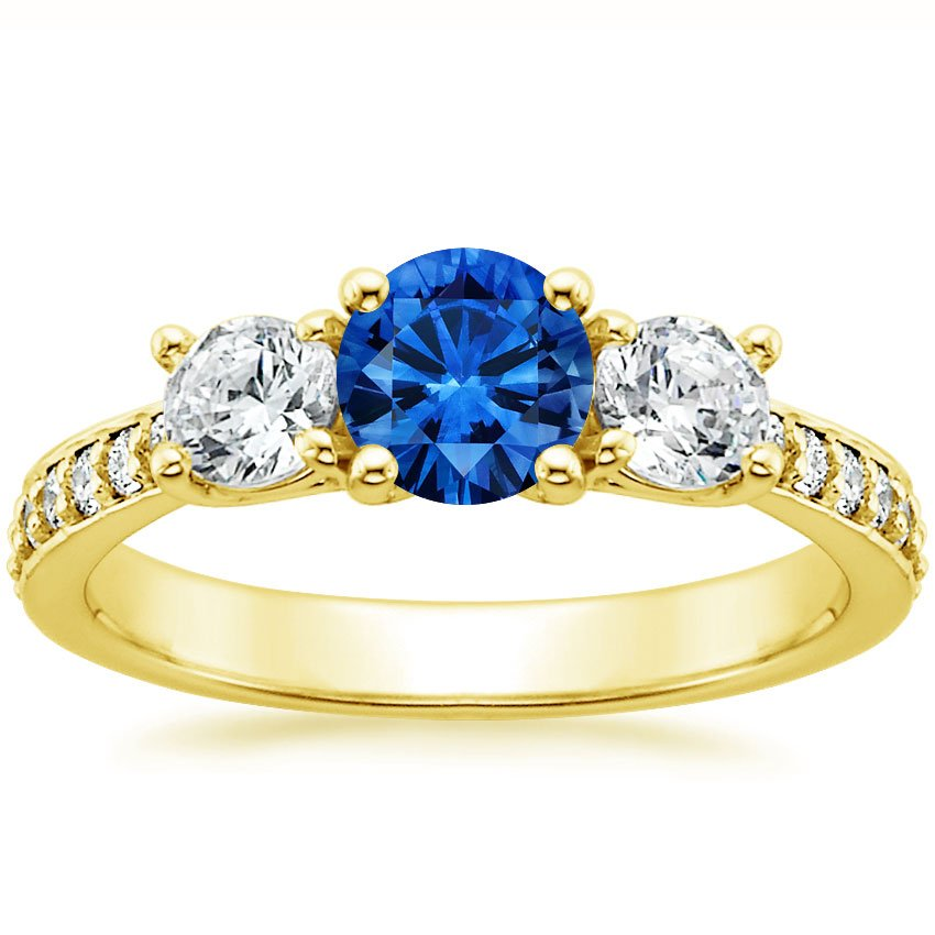 18K Yellow Gold Sapphire Three Stone Round Diamond Pavé Trellis Ring, top view