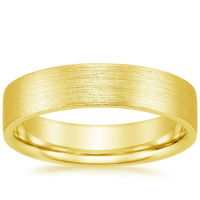 18K Yellow Gold 5mm Flat Matte Comfort Fit Wedding Ring, top view