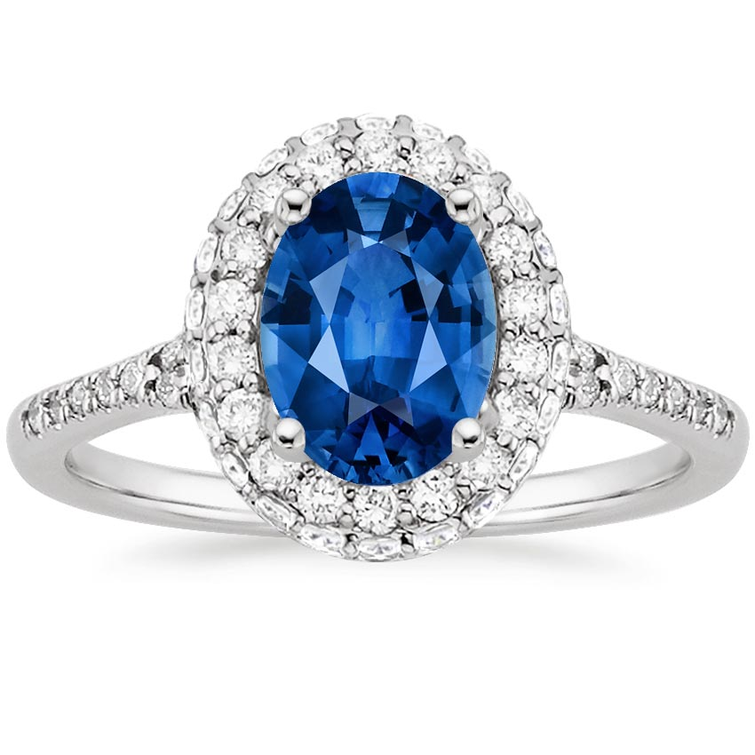 18K White Gold Sapphire Circa Diamond Ring (1/2 ct. tw.), top view