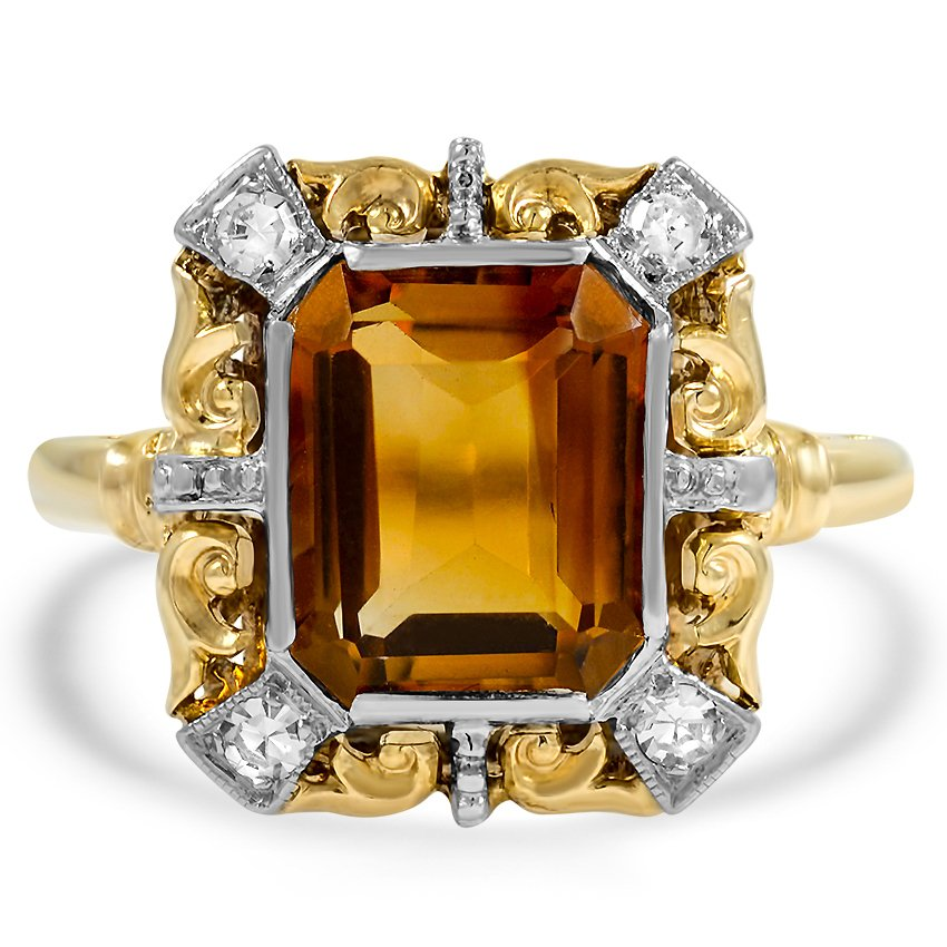 Retro Citrine Cocktail Ring