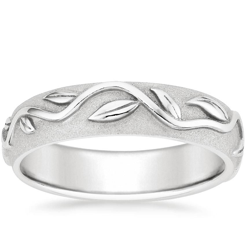 Platinum Wide Ivy Ring, top view