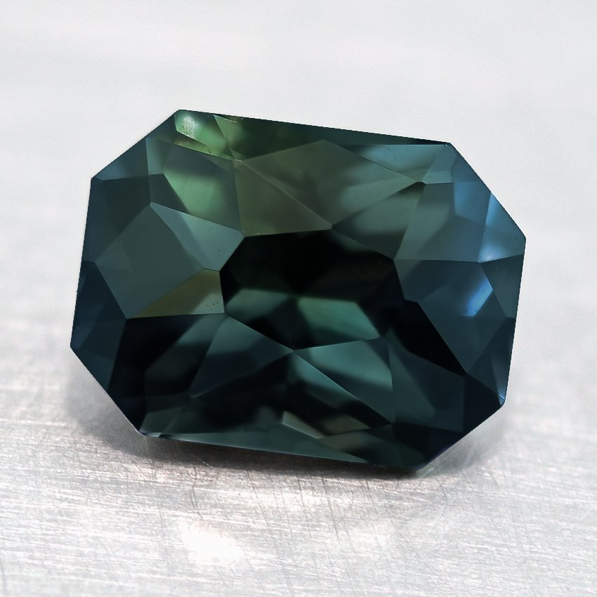 8x6mm Premium Green Radiant Sapphire, top view