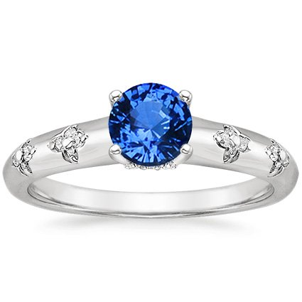 Sapphire Blossom Ring in 18K White Gold with 5.5mm Round Blue Sapphire