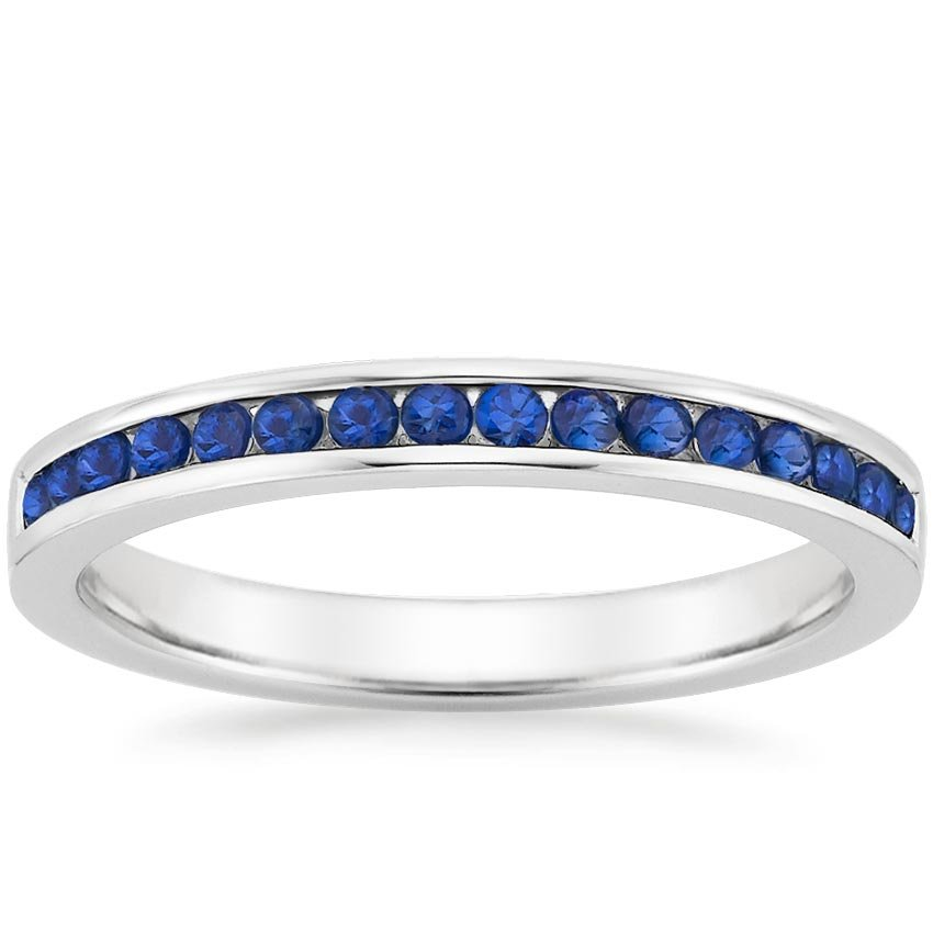 18K White Gold Petite Channel Set Round Sapphire Ring, top view