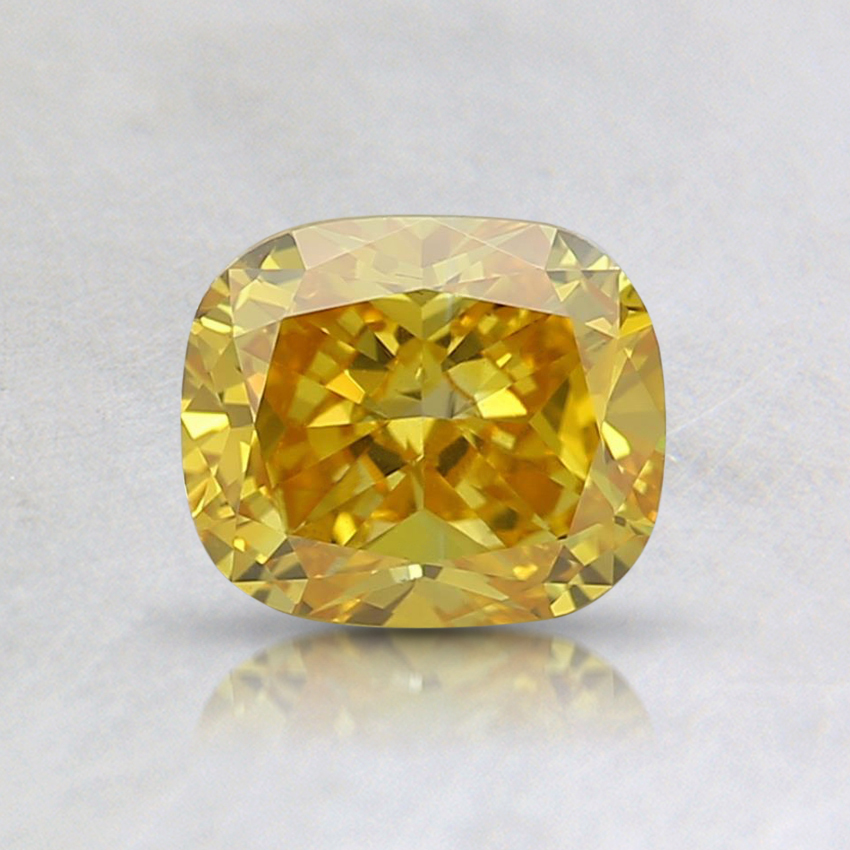 0.7 Ct. Fancy Vivid Yellow Cushion Lab Created Diamond