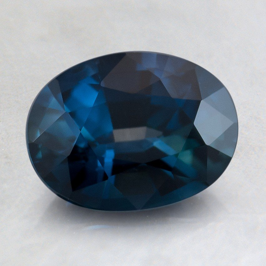8x6mm Premium Vivid Teal Oval Sapphire, top view