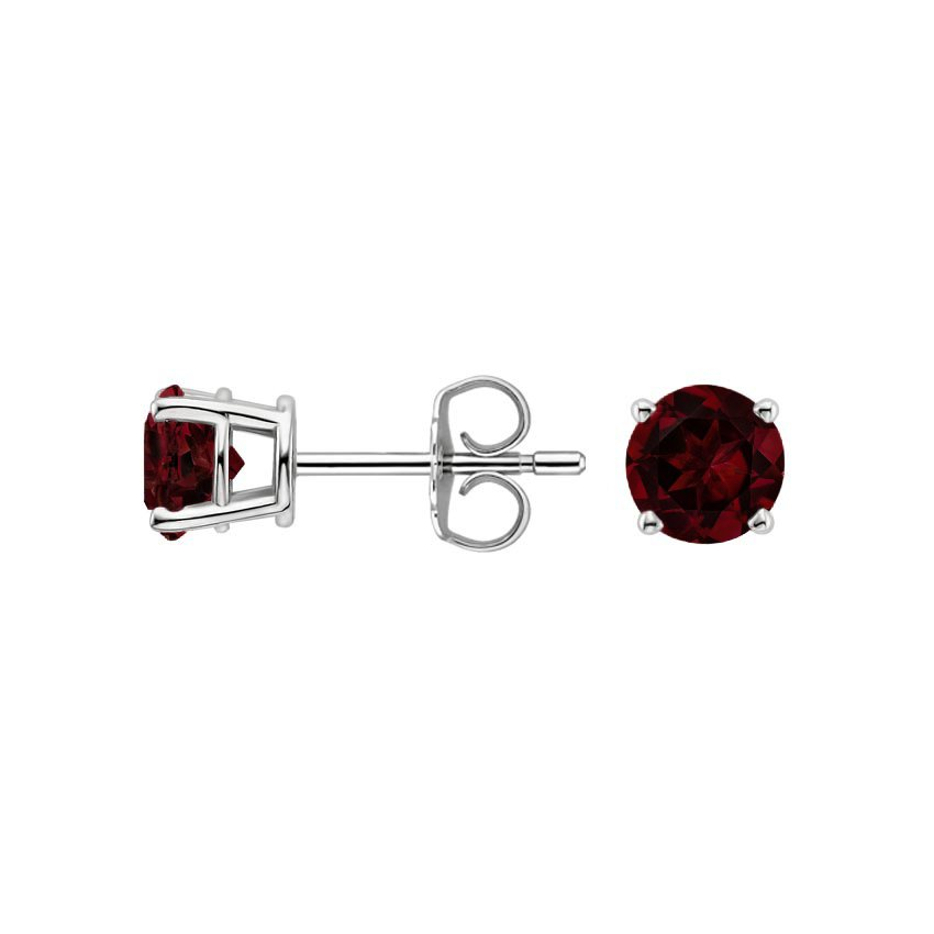 18K White Gold Garnet Stud Earrings (5mm), top view