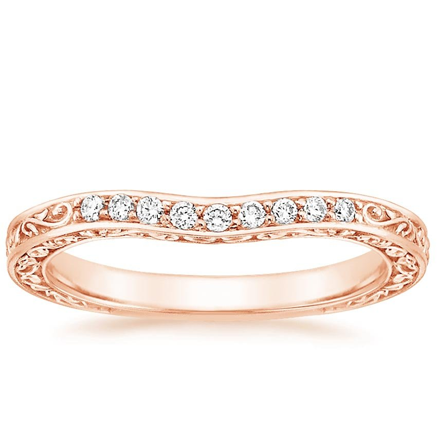 Rose Gold Antique Scroll Three Stone Trellis Contoured Diamond Ring