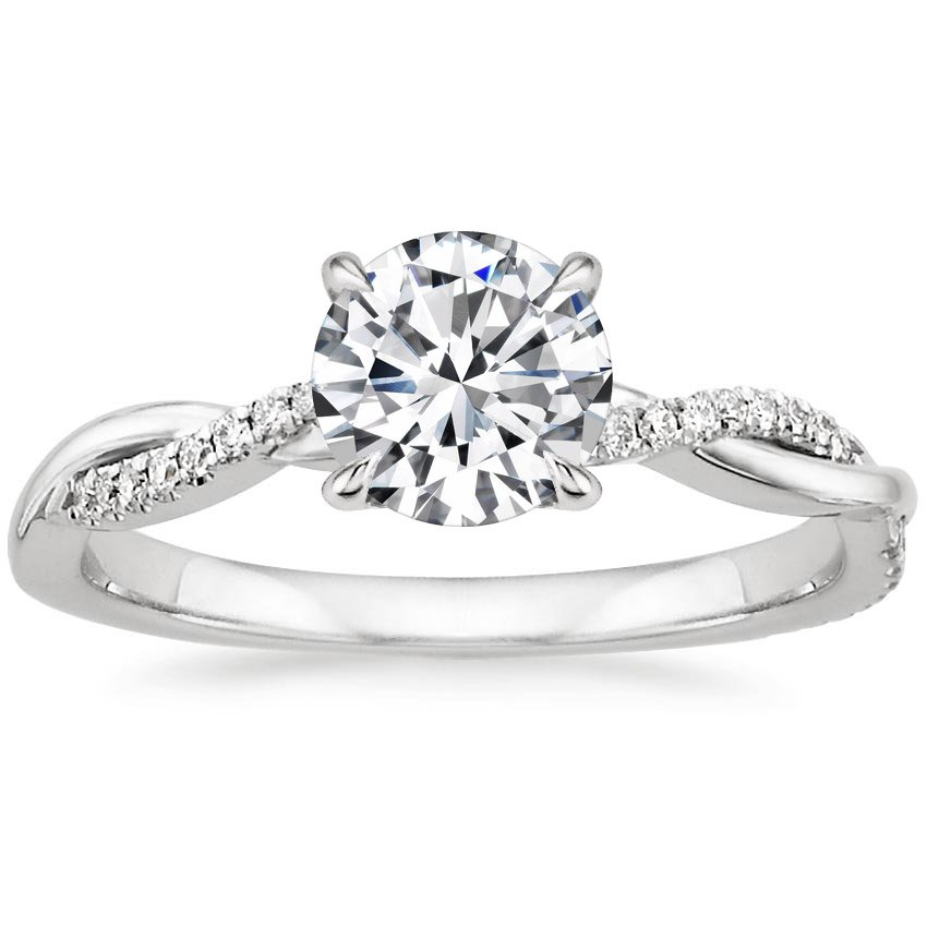 Preset 18K White Gold Petite Twisted Vine Diamond Ring With 1 Carat Round