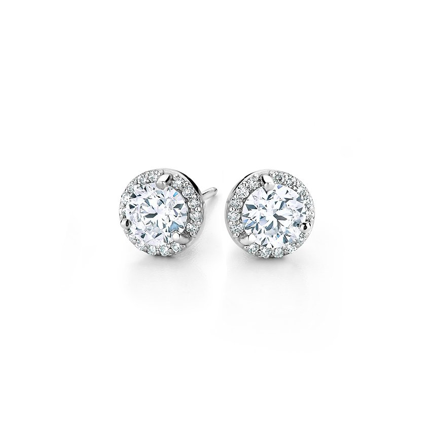 halo diamond earrings in 18k white gold