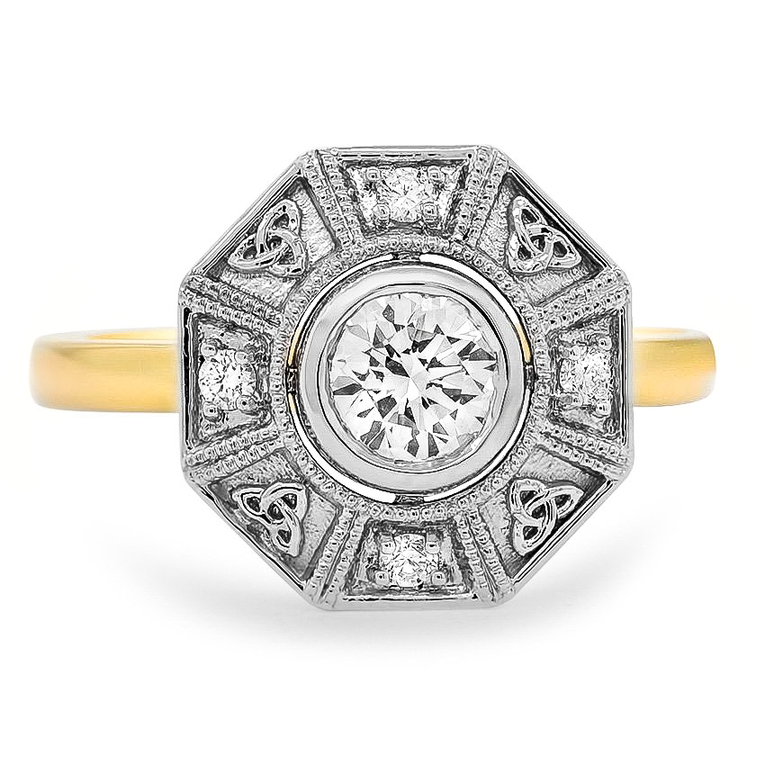 Custom Two-Tone Vintage Inspired Celtic Knot Diamond Ring