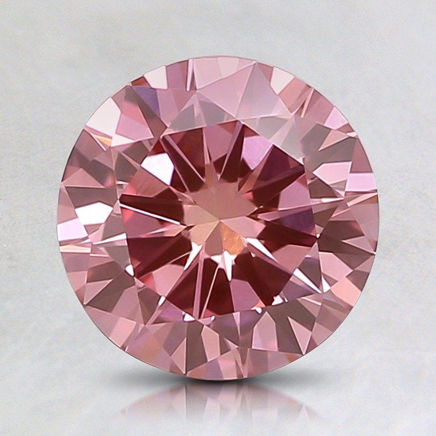 0.68 Ct. Lab Created Fancy Intense Pink Round Diamond, top view
