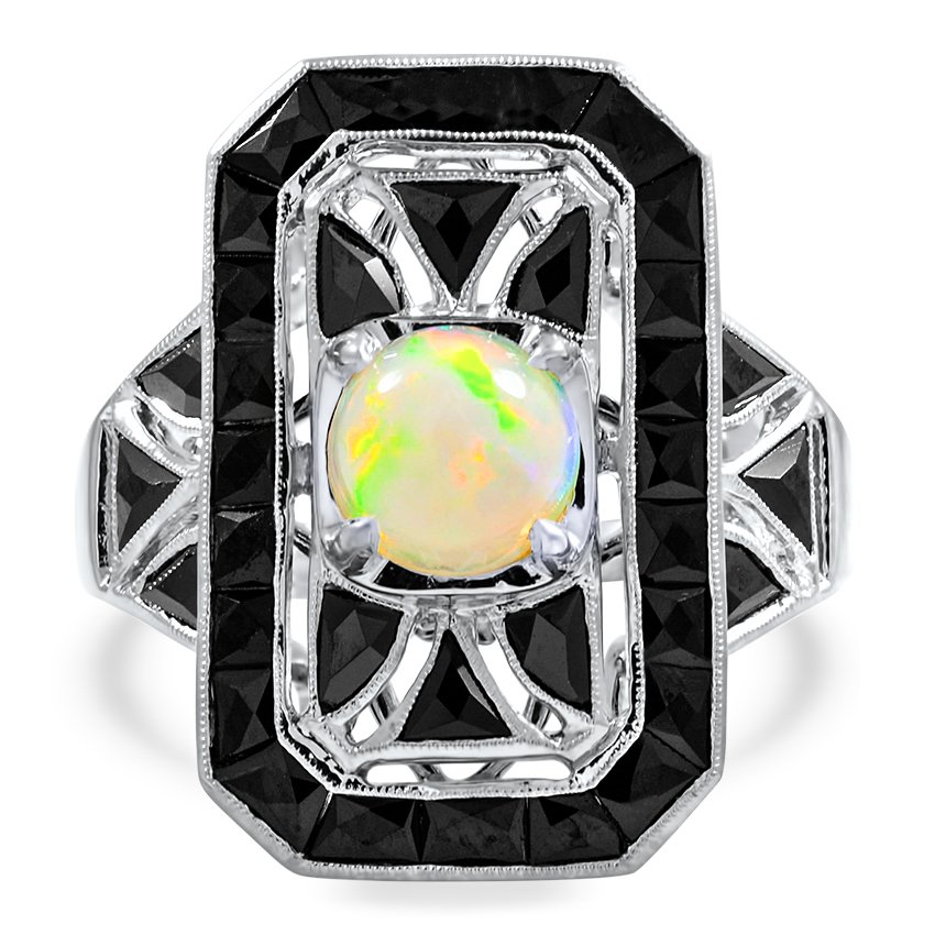 Art Deco Reproduction Opal Cocktail Ring