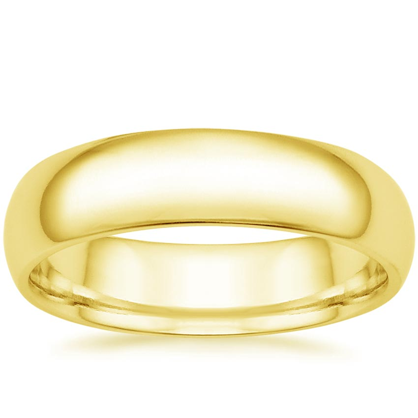 5 5mm Comfort Fit Wedding Ring In 18k Yellow Gold