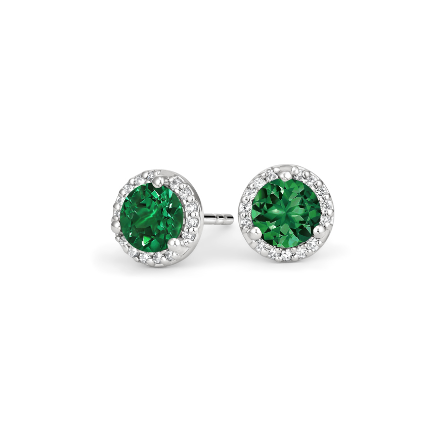 Emerald Halo Diamond Earrings in 18K White Gold