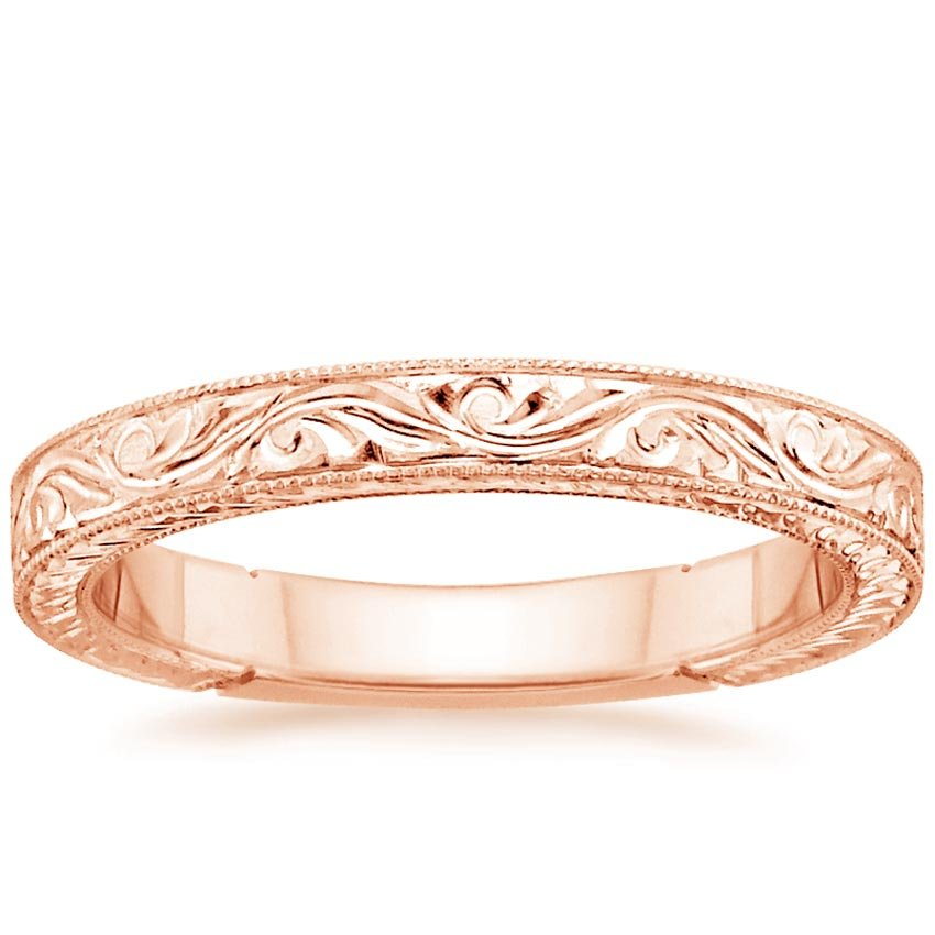 14K Rose Gold Hand-Engraved Laurel Ring, top view