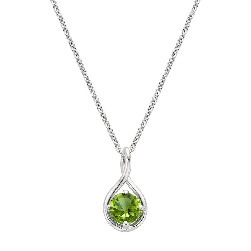 necklace in yellow diamonds tw gold with peridot