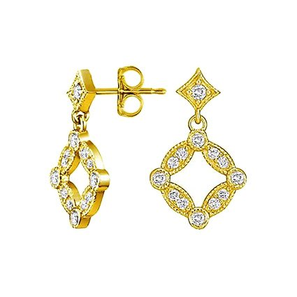 18K Yellow Gold Tiara Diamond Stud Earrings, top view