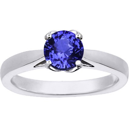 Sapphire Butterfly Trellis Ring in 18K White Gold with 6mm Round Blue Sapphire
