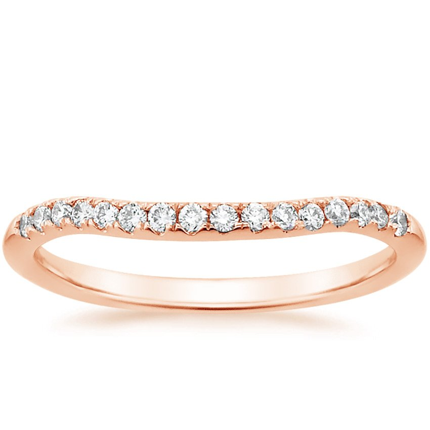 14K Rose Gold Harmony Contoured Diamond Ring, top view