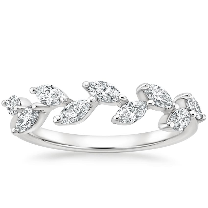 Floating Diamond Leaf Wedding Ring