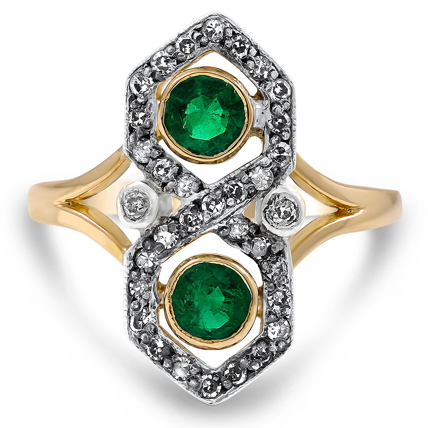 Art Deco Emerald Cocktail Ring