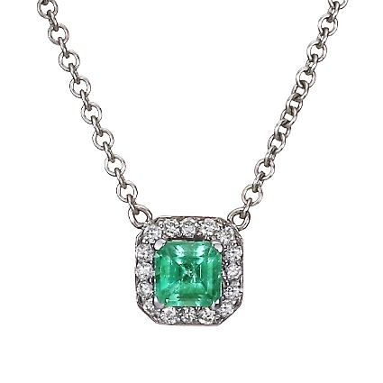 18K White Gold Emerald Halo Diamond Pendant, top view