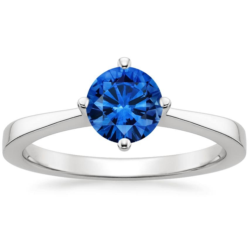 Sapphire True North Ring in Platinum with 6mm Round Blue Sapphire