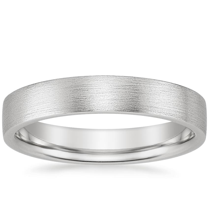 18K White Gold 4mm Flat Matte Comfort Fit Wedding Ring, top view