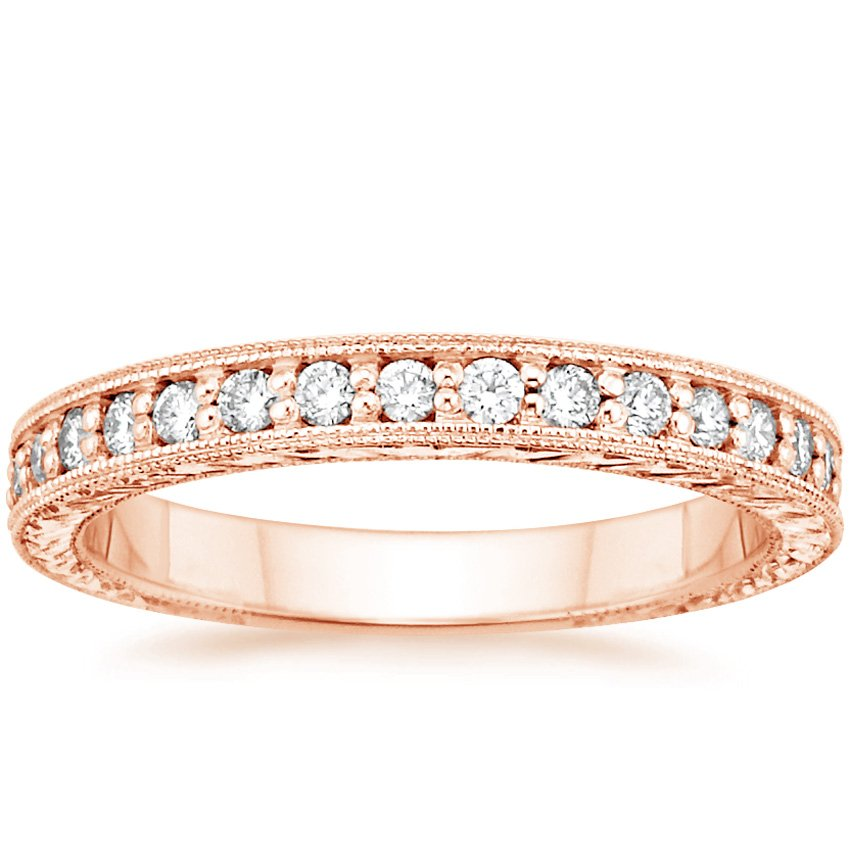 14K Rose Gold Engraved Pavé Milgrain Diamond Ring (1/4 ct. tw.), top view