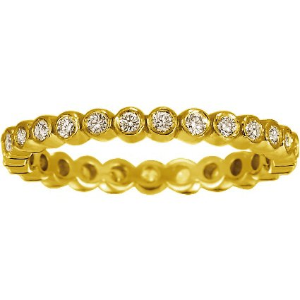 18K Yellow Gold Eclipse Eternity Diamond Ring, top view
