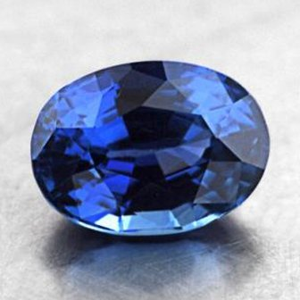 7.5x5.5mm Blue Oval Sapphire, top view