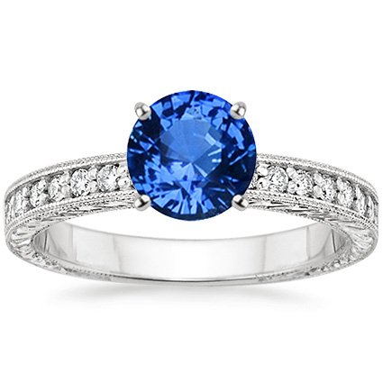 Platinum Sapphire Engraved Pavé Milgrain Diamond Ring (1/4 ct. tw.), top view