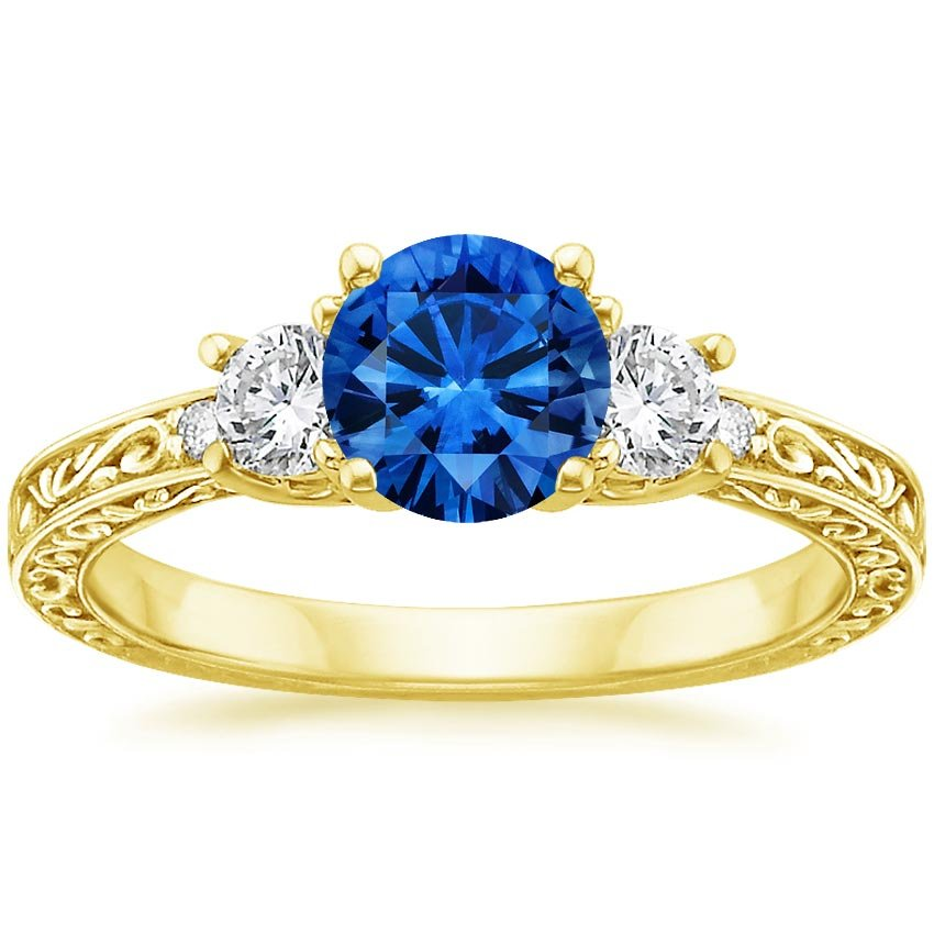 18K Yellow Gold Sapphire Antique Scroll Three Stone Trellis Ring (1/3 ct. tw.), top view