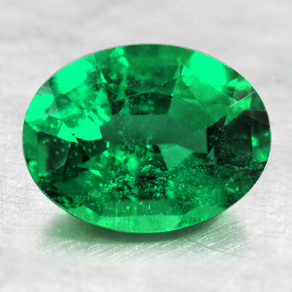 9.09x6.98 Oval Emerald, top view