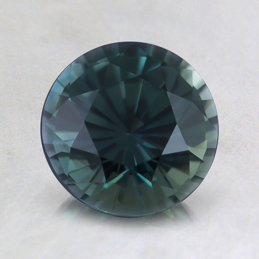 7mm Unheated Green Round Sapphire, top view