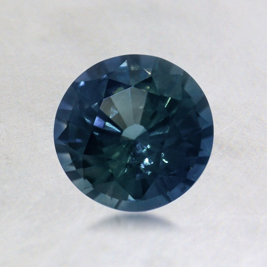 6mm Dark Teal Round Sapphire, top view