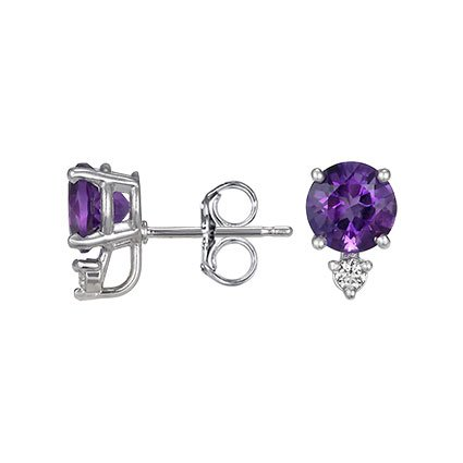 Silver Amethyst and Diamond Stud Earrings (6mm), top view