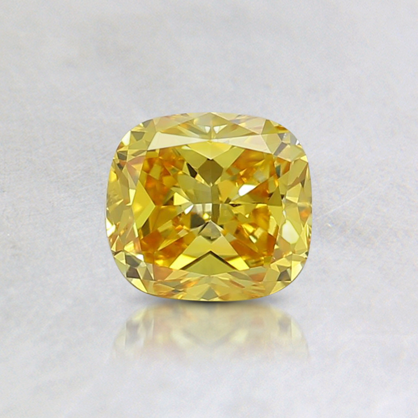 0.49 Ct. Fancy Vivid Orangy Yellow Cushion Lab Created Diamond
