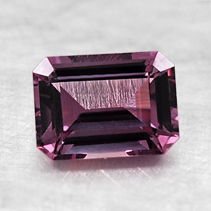 7.5x5.5mm Super Premium Pink Emerald Cut Sapphire, top view
