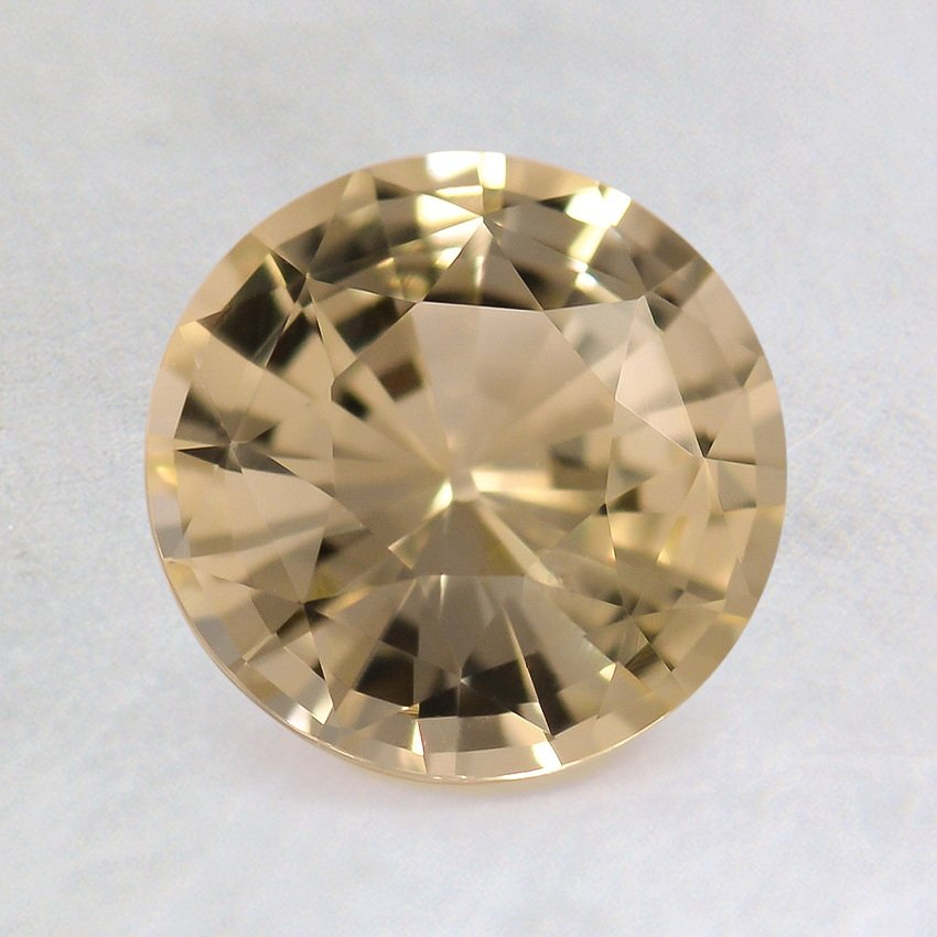 7mm Unheated Yellow Round Sapphire, top view