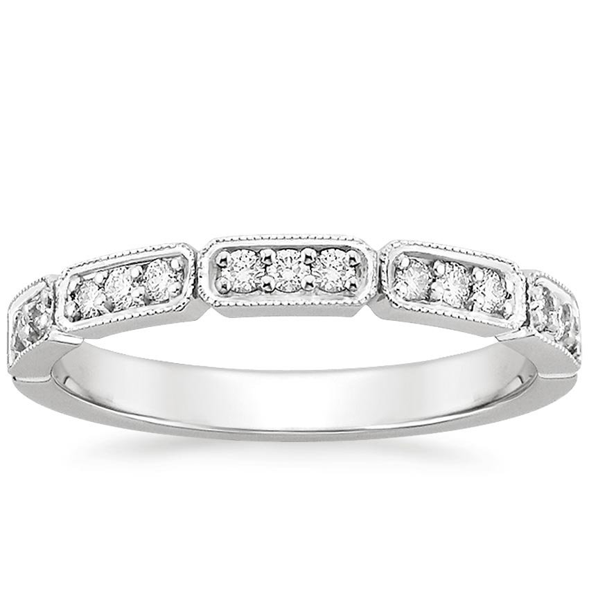 18K White Gold Deco Diamond Ring, top view
