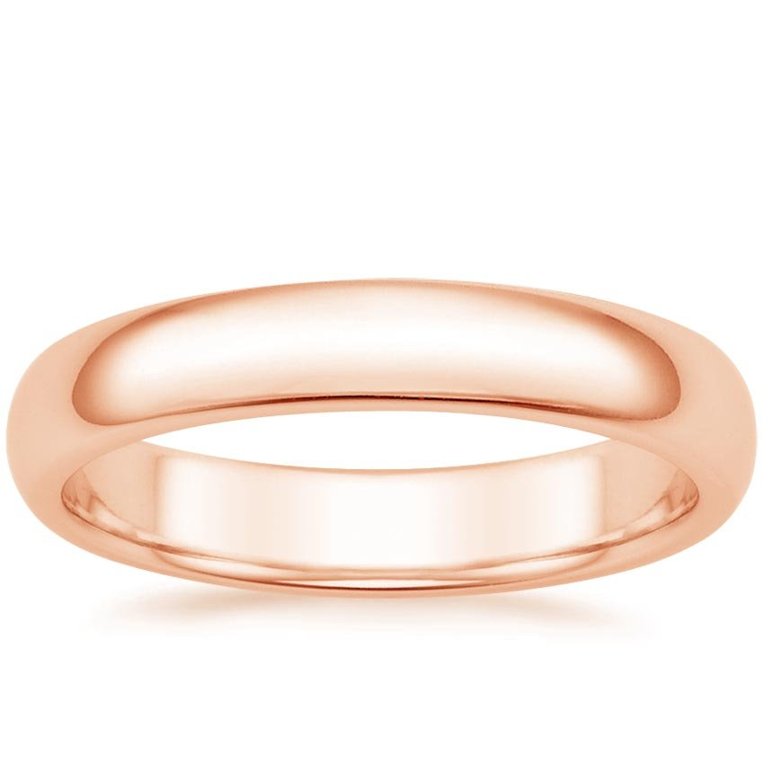 14K Rose Gold 4mm Comfort Fit Wedding Ring, top view