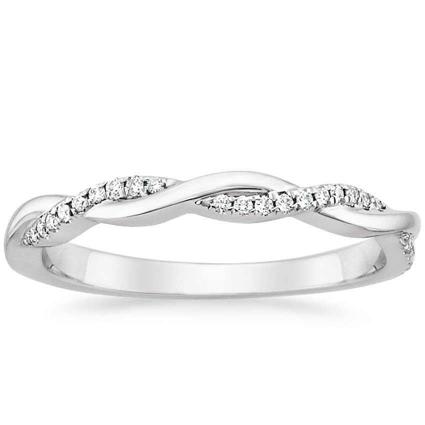 18K White Gold Petite Twisted Vine Diamond Ring, top view