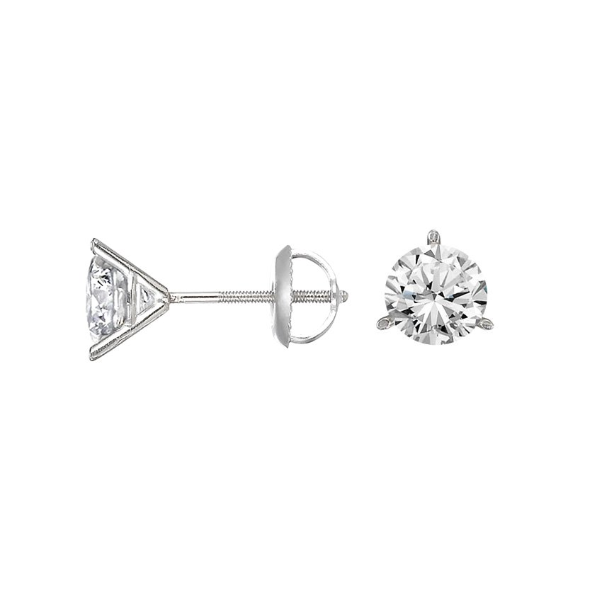 Top Twenty Gifts - 18K WHITE GOLD THREE-PRONG MARTINI ROUND DIAMOND STUD EARRINGS (1 CT. TW.)