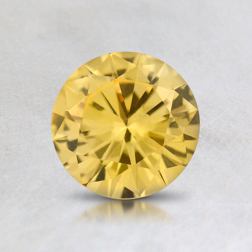 6mm Yellow Round Sapphire, top view